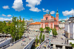 Preseren square, Ljubljana, capital of Slovenia. Royalty Free Stock Photos