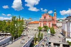 Preseren square, Ljubljana, capital of Slovenia. Royalty Free Stock Photos