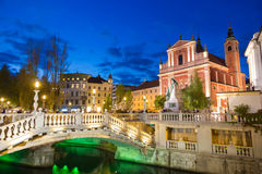 Preseren square, Ljubljana, capital of Slovenia. Royalty Free Stock Photography