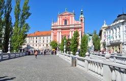 Preserens square and St. Franciscan church, Ljubljana, Slovenia Royalty Free Stock Image