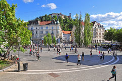 Presern's square and Ljubljana's castle Stock Images