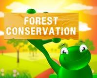 Preservação 3d Illustrat de Forest Conservation Sign Shows Natural ilustração do vetor