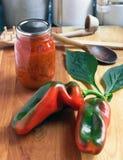 Preservar las pimientas de cosecha propia Fotos de archivo libres de regalías