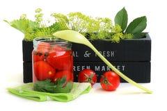 Preservar los tomates Foto de archivo