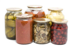 Preservation. Picture of preservation in jars on a white background stock photography