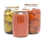 Preservation. Picture of preservation in jars on a white background royalty free stock photos