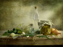 Preservation. Nice cucumber preservation countrified style royalty free stock image
