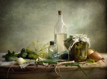 Preservation. Nice cucumber preservation countrified style stock photography