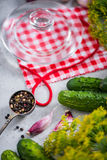 Preservation cucumber for winter, savory organic food Royalty Free Stock Photography