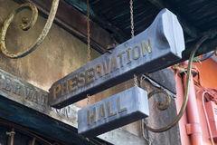 Preservation Hall Sign. Sign leading into the world famous Preservation Hall in New Orleans, LA, USA. Located in the heart of the French Quarter, it is one of stock images