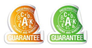 Preservation vitamins and minerals stickers. Preservation vitamins and minerals guarantee. Icons for canned and frozen fruits and vegetables Stock Image