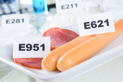Preservatives. E951 Aspartame ASM. E621 Monosodium glutamate MSG, additives to food Stock Images