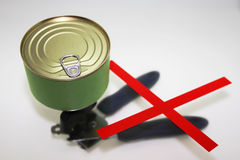 Preserve can. Preserve can with removeable lid. Canopener is useless thing Royalty Free Stock Photos