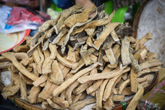Preserve food. Buffalo skin dry Sun for sale in the market Laos Royalty Free Stock Photography