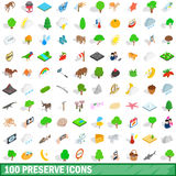 100 preserve icons set, isometric 3d style Royalty Free Stock Image