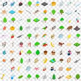 100 preserve icons set, isometric 3d style Stock Photos