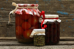 Preserve. Jar with jam, tomatoes and capers Royalty Free Stock Images