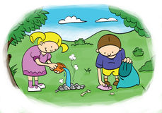 Preserve nature. Children, cleans up the environment after the picnic Royalty Free Stock Image