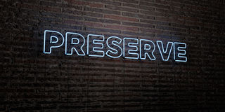 PRESERVE -Realistic Neon Sign on Brick Wall background - 3D rendered royalty free stock image. Can be used for online banner ads and direct mailers Royalty Free Stock Photo