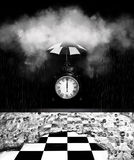 Preserve time. A black clock under and umbrella shielded from the rain coming from a large white storm cloud.  Concept for the preservation of time and being Royalty Free Stock Images