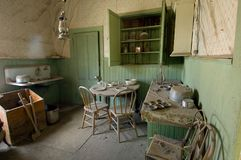 Preserved esidientail kitchen in the Bodie State Historic Park. royalty free stock photo