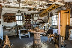 Preserved Ancient Wood Wheel Maker Shop Stock Photography