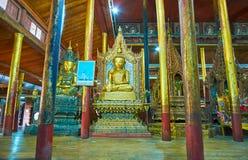 Preserved Buddha Images of Nga Phe Chaung Monastery, Ywama,  Inl. YWAMA, MYANMAR - FEBRUARY 18, 2018: The Nga Phe Chaung Monastery of jumping cats boasts Royalty Free Stock Photo