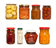 Preserved carrots, tomatoes, garlic, chilli, beans Royalty Free Stock Image