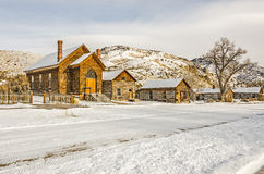 Preserved Church and Houses in a Ghost Town Stock Image