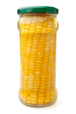 Preserved corn ear in glass jar Royalty Free Stock Images