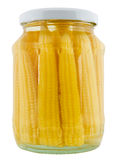 Preserved corn in jar. Stock Image