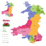 Preserved counties of Wales vector administrative map with districtscities, counties and city boroughs. Welsh-language forms are. Given in parentheses, where Royalty Free Stock Photography