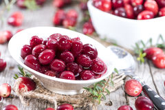 Preserved Cranberries. Homemade preserved Cranberries (with some fresh fruits Royalty Free Stock Photo