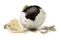 Preserved egg,Chinese foods. Isolated on white background stock image