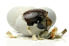Preserved egg,Chinese foods. Isolated on white background royalty free stock photography