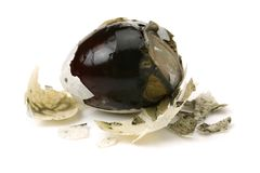 Preserved egg,Chinese foods. Isolated on white background stock photos