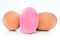 Preserved egg , pink eggs and brown eggs Royalty Free Stock Image