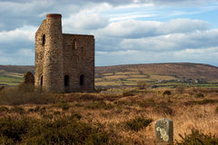 Giew Consols Mine Cornwall. The preserved engine house of Giew Consols just outside the hamlet of Cripplesease in west Cornwall, situated between St. Ives and Royalty Free Stock Image