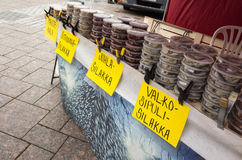 Preserved fish in plastic cans, Finland Stock Photos