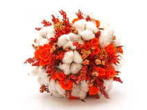 Preserved flowers and cotton wedding bouquet Royalty Free Stock Images