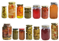 Preserved Food Collection. Isolated On White Background Stock Photo