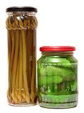 Preserved food in glass jars,  white Royalty Free Stock Image