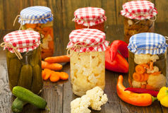 Preserved and fresh vegetables Royalty Free Stock Photography