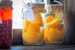 Preserved fruit compote made from natural fruits Stock Images