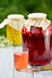 Preserved fruit, sour cherries compote. Canned fruit on wooden table Royalty Free Stock Photography