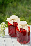 Preserved fruit, sour cherries compote. Canned fruit on wooden table Stock Photography