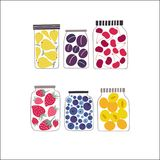 Preserved fruits and berries in containers set. Stock Photography