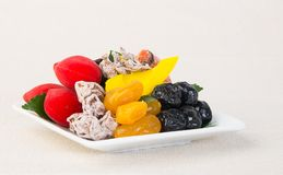 Preserved fruits & Dried fruits. Food Snack on a Background. Preserved fruits & Dried fruits. Food Snack on Background Stock Photography
