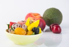 Preserved fruits & Dried fruits. Food Snack on a Background. Preserved fruits & Dried fruits. Food Snack on Background Stock Image