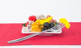 Preserved fruits & Dried fruits. Food Snack on a Background. Preserved fruits & Dried fruits. Food Snack on Background Royalty Free Stock Images